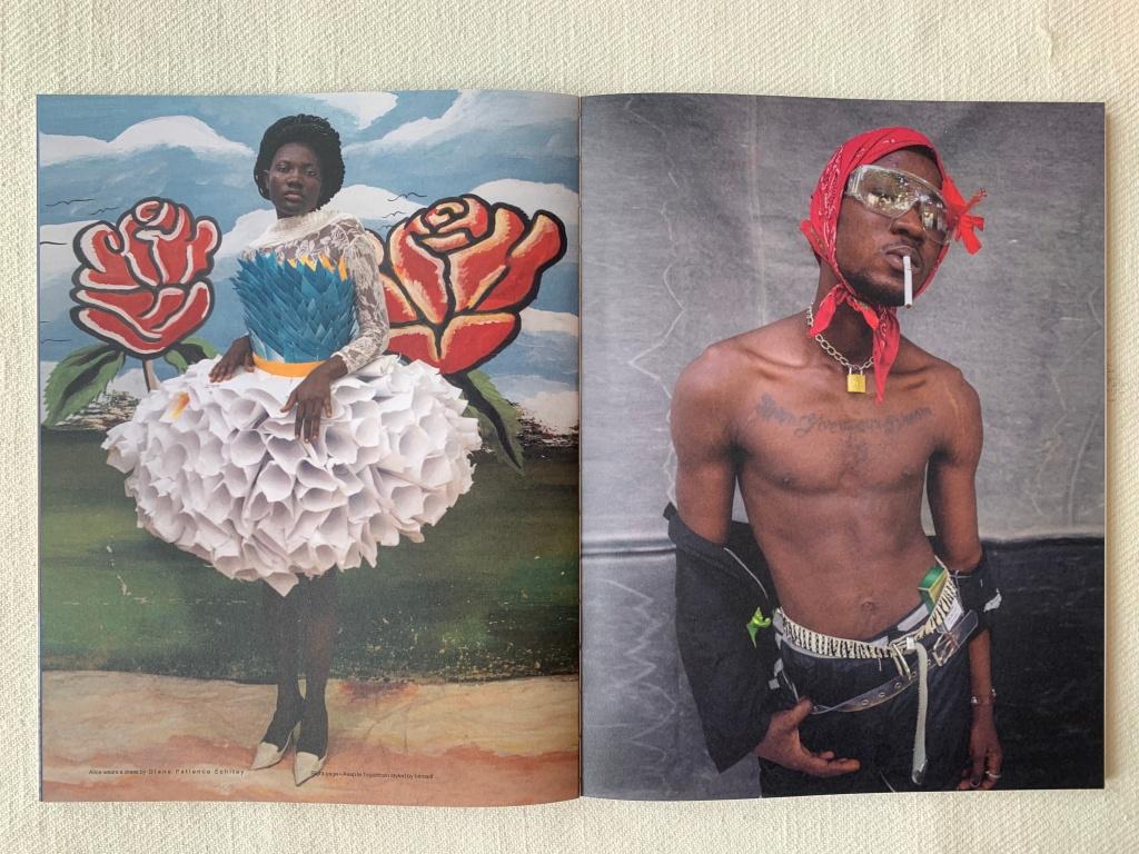 Links een jurk van Diane Patience Echitey. Rechts Asap le Togoricain.
